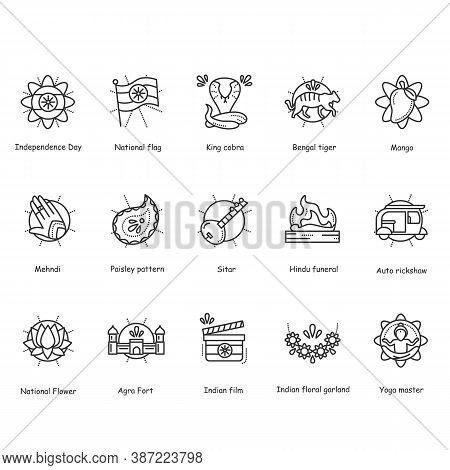 Indian Culture Line Icons Set. National Traditions And Customs, Festivals, Religious Symbols, Ceremo
