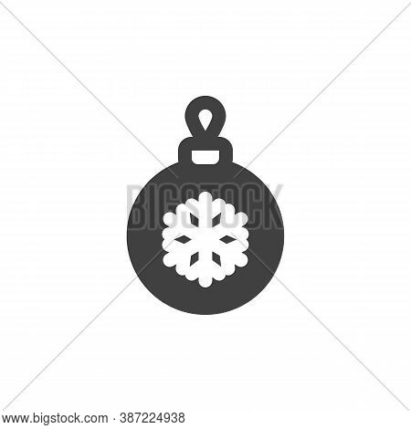 Xmas Bauble Vector Icon. Filled Flat Sign For Mobile Concept And Web Design. Christmas Ball With Sno