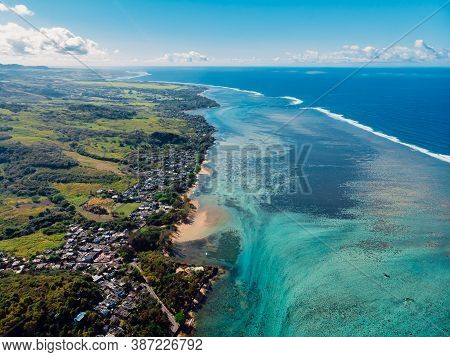 Tropical Landscape With Ocean And Coastline In Mauritius. Aerial View
