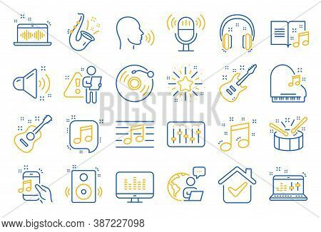 Music Line Icons. Set Of Acoustic Guitar, Musical Note, Vinyl Record Icons. Jazz Saxophone, Drums Wi