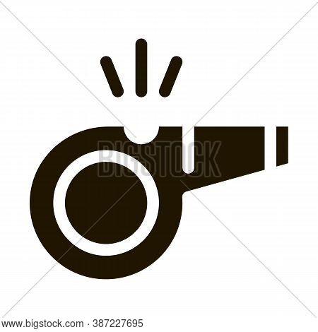 Whistle Arbitrator Tool Glyph Icon Vector. Whistle Arbitrator Tool Sign. Isolated Symbol Illustratio