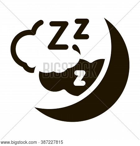 Night Sky With Moon Glyph Icon Vector. Night Sky With Moon Sign. Isolated Symbol Illustration