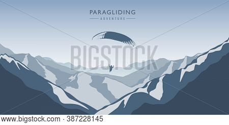 Paragliding Adventure In Blue Snowy Mountains Winter Landscape Vector Illustration Eps10