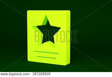 Yellow Hollywood Walk Of Fame Star On Celebrity Boulevard Icon Isolated On Green Background. Famous