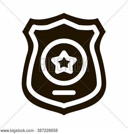 Police Officer Badge Glyph Icon Vector. Police Officer Badge Sign. Isolated Symbol Illustration