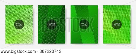 Zig Zag Lines Halftone Banner Templates Set, Vector Backgrounds For   Annual Reports. Minimal Zig Za