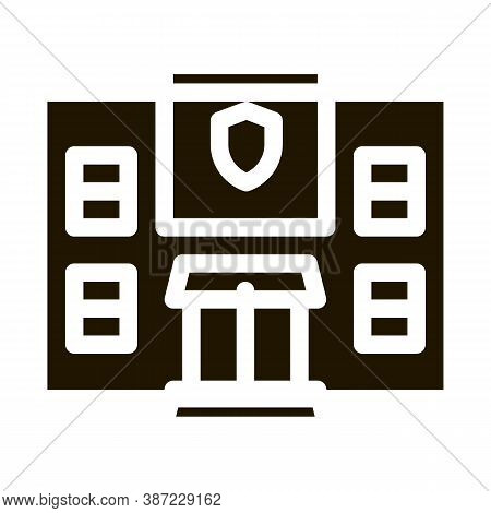 Police Department Build Glyph Icon Vector. Police Department Build Sign. Isolated Symbol Illustratio