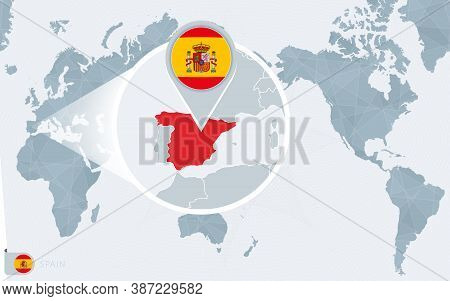 Pacific Centered World Map With Magnified Spain. Flag And Map Of Spain On Asia In Center World Map.
