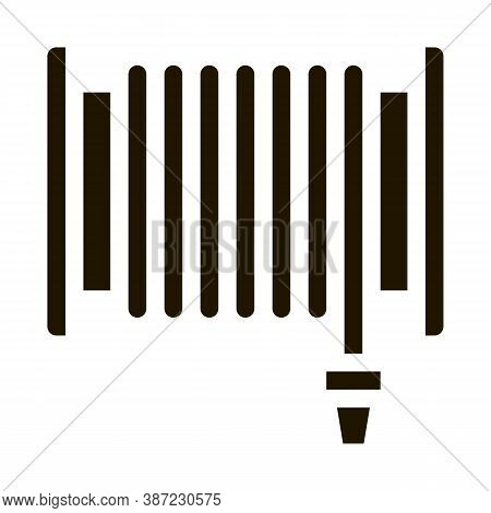 Firehose Hose Reel Glyph Icon Vector. Firehose Hose Reel Sign. Isolated Symbol Illustration