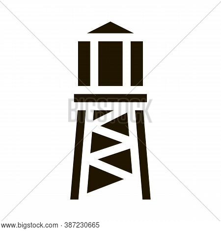 Fire Tower With Water Glyph Icon Vector. Fire Tower With Water Sign. Isolated Symbol Illustration