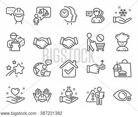 People Icons Set. Included Icon As Stop Shopping, Foreman, Freezing Signs. Time Management, Cooking