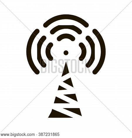 Radio Tower Antenna Glyph Icon Vector. Radio Tower Antenna Sign. Isolated Symbol Illustration