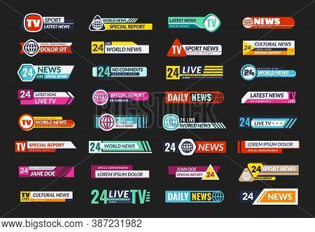 Broadcasting Tv Banner Set. News Television Screen Header, Square Horizontal Internet Broadcast Show