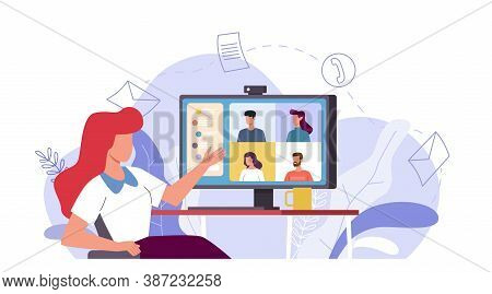 Online Meeting. Woman Talking With People Group On Monitor Screen , Video Conference Remote Work Wit