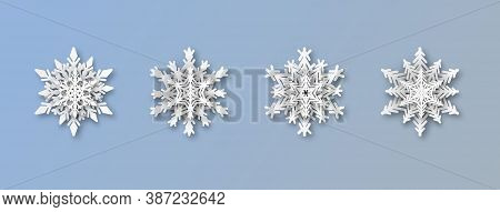 Christmas Paper Snowflakes. Realistic New Year Papercut Snowflake Decorations Set, Christmas Origami
