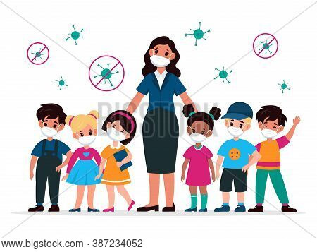 Kids With Teacher With Masks. Pedagogue And Children Wearing Medic Protective Mask And Viruses Aroun