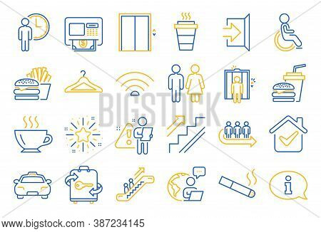 Public Services, Wifi Line Icons. Elevator, Cloakroom And Taxi Icons. Exit, Atm And Escalator. Wifi,