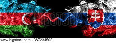 Azerbaijan, Azerbaijani Vs Slovakia, Slovakian Smoky Mystic Flags Placed Side By Side. Thick Colored