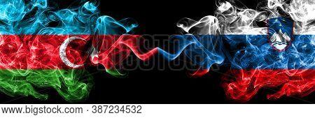 Azerbaijan, Azerbaijani Vs Slovenia, Slovenian Smoky Mystic Flags Placed Side By Side. Thick Colored