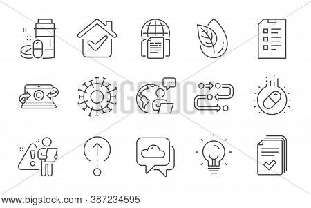 Internet Documents, Copywriting Notebook And Handout Line Icons Set. Organic Product, Methodology An
