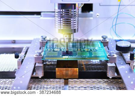 Technological Process Of Soldering And Assembly Chip Components On Pcb Board. Automated Soldering Ma