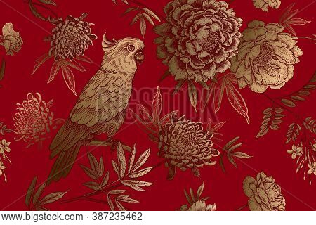 Floral Seamless Pattern. Parrot Bird And Garden Flowers With Branches And Leaves. Gold Foil Print On