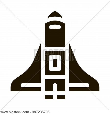 Space Shuttle Spaceship Glyph Icon Vector. Space Shuttle Spaceship Sign. Isolated Symbol Illustratio