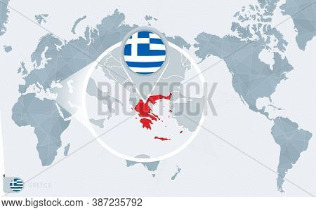 Pacific Centered World Map With Magnified Greece. Flag And Map Of Greece On Asia In Center World Map