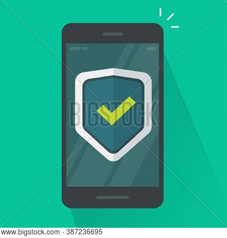 Security Protection Shield On Mobile Phone Guard Online Vector Icon Flat Cartoon, Internet Web Virus