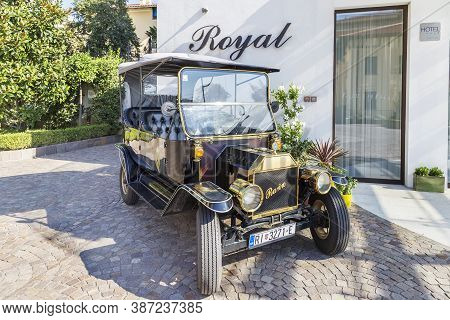 Opatija, Croatia - September 6, 2020 - Vintage Retro Car Rariro Parked In The Front Of The Hotel Roy