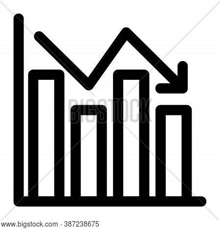 Declining Graph Icon. Decreasing Chart Sign. Economic Recession, Stock Market Crash, Financial Crisi