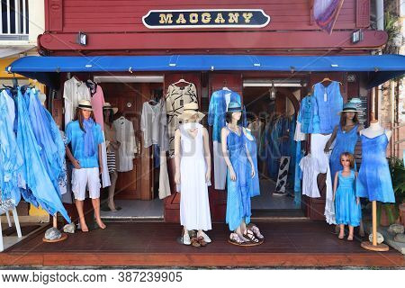 Guadeloupe, France - December 5, 2019: Creole Style Blue Fashion In Les Saintes, Guadeloupe In Lesse