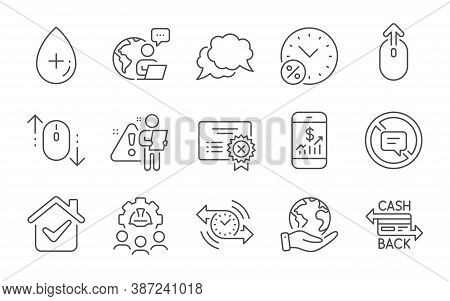 Scroll Down, Stop Talking And Chat Message Line Icons Set. Engineering Team, Reject Certificate And