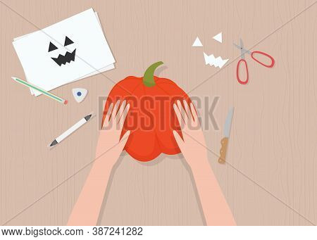 Vector Illustration In Cartoon Style, Top View, Hands, Pumpkin And Sheets Of Paper. For Halloween Po