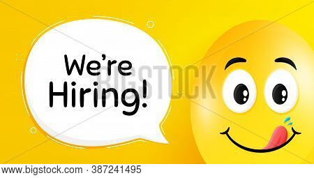 Were Hiring Symbol. Easter Egg With Yummy Smile Face. Recruitment Agency Sign. Hire Employees Symbol