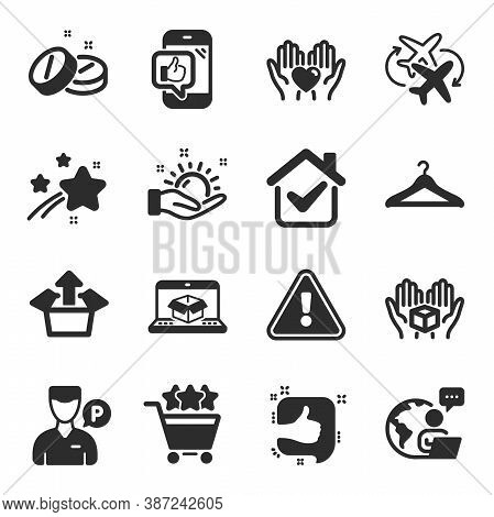 Set Of Business Icons, Such As Mobile Like, Medical Tablet, Cloakroom Symbols. Online Delivery, Hold