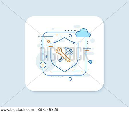 Spanner And Hammer Line Icon. Abstract Vector Button. Repair Service Sign. Fix Instruments Symbol. S