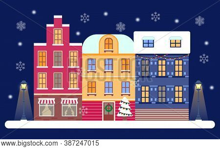 Christmas Eve In Cozy City Concept Vector. Winter Night Panorama In Town With Street Lightens. Snowy