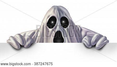 Ghost Monster Peeking Behind A Blank White Sign As An Angry Haunted Creepy Phantom Spirit Hiding Beh