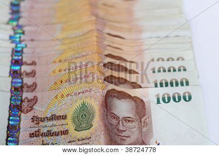 Thailand Banknotes Arranged In Set