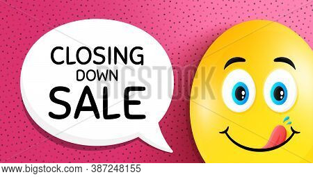 Closing Down Sale. Easter Egg With Yummy Smile Face. Special Offer Price Sign. Advertising Discounts