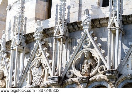 Fragment Of The Pisa Baptistery Of St. John And The Leaning Tower Of Pisa (torre Di Pisa) Italy, Eur
