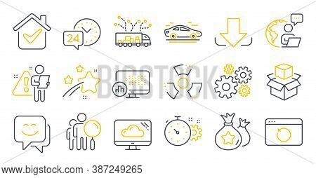 Set Of Technology Icons, Such As Chemical Hazard, Cogwheel Timer, Report Statistics Symbols. Smile F
