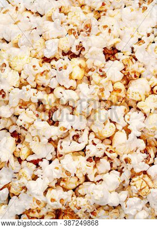 Homemade Kettle Corn Popcorn As  Background With Copy Space. Top View