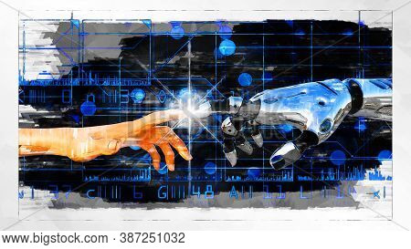 Artistic 3d Illustration Of An Artificial Intelligence