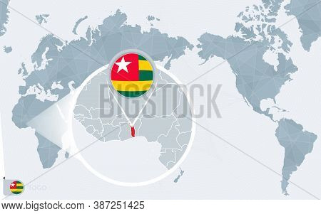 Pacific Centered World Map With Magnified Togo. Flag And Map Of Togo On Asia In Center World Map.