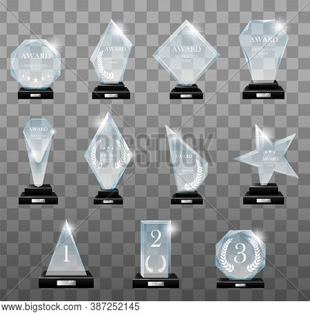 Glass Trophy Awards Set. Glass Trophies Plaque Engraved Crystal Award Realistic. Vector Isolated Ima