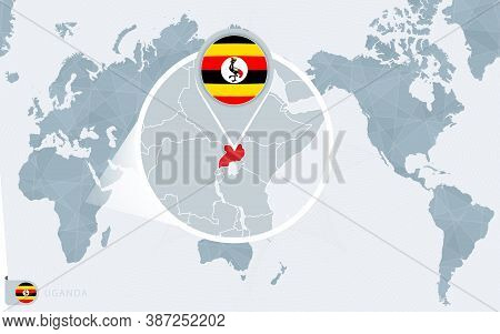 Pacific Centered World Map With Magnified Uganda. Flag And Map Of Uganda On Asia In Center World Map