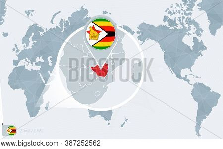 Pacific Centered World Map With Magnified Zimbabwe. Flag And Map Of Zimbabwe On Asia In Center World