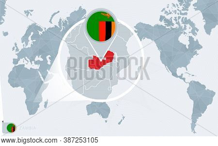 Pacific Centered World Map With Magnified Zambia. Flag And Map Of Zambia On Asia In Center World Map